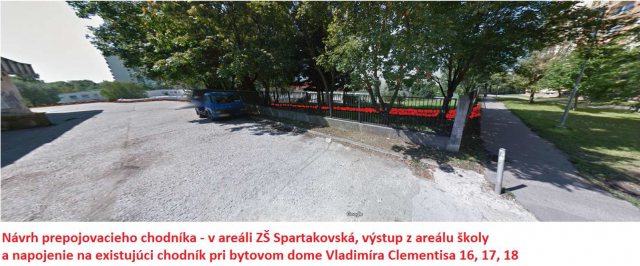 Prepojovací chodník k ZŠ Spartakovská