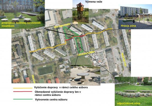 Vytvorenie pešej zóny v obytnom súbore na G. Dusíka